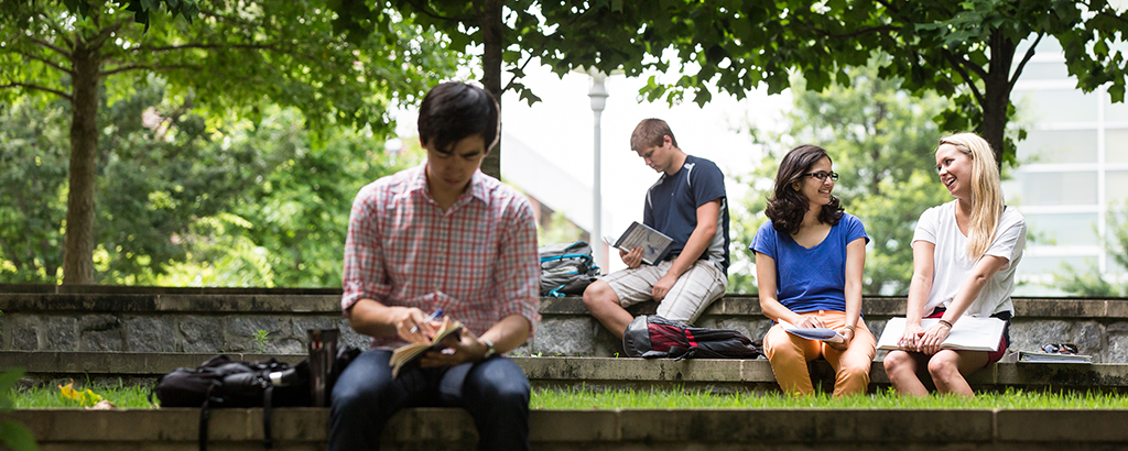students in green space